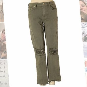 7 For All Mankind Military Green Distressed Jeans